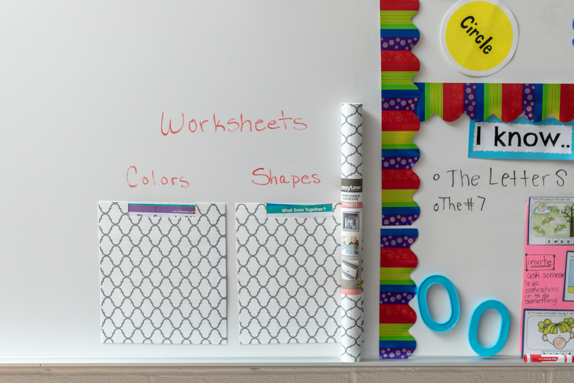 Shelf liner worksheet pouches