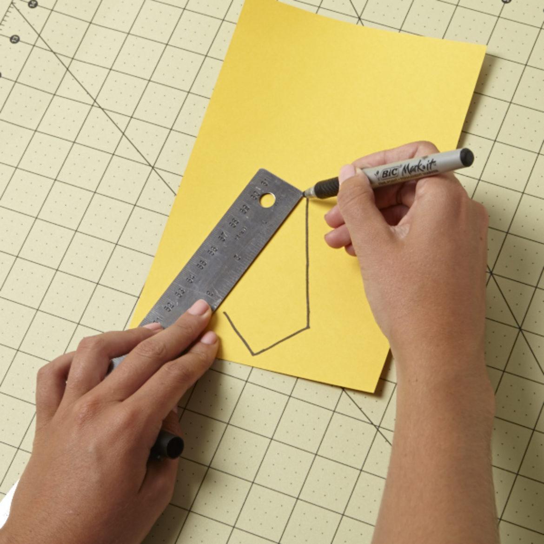 Elongated diamond shape drawn onto cardstock