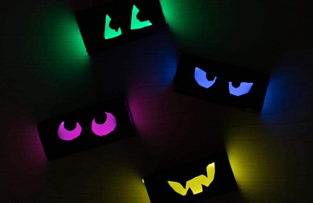 Cardboard Glow Eyes Halloween Project