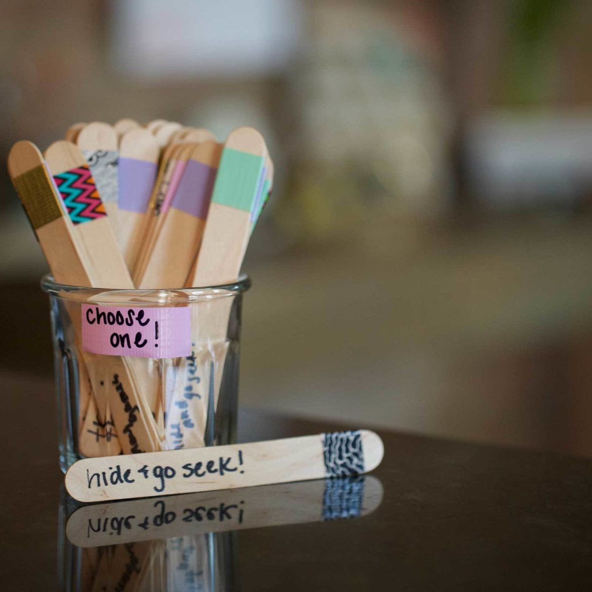 Popsicle sticks can be decorated with Duck Tape for rainy day activities