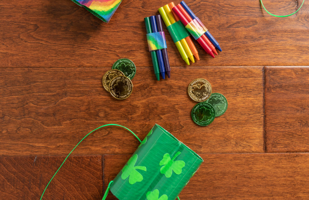 A set of Duck Tape St.Patrick's day binoculars made with colored Duck Tape