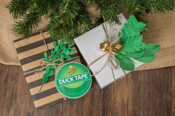 A present decorated with leaves made out of Duck Tape.