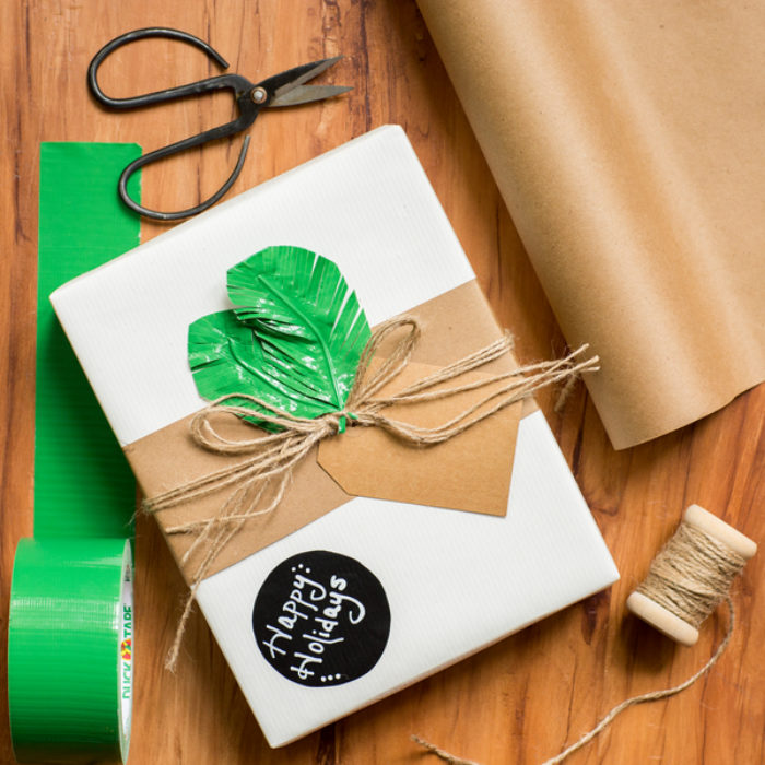 A present decorated with green Duck Tape leaves.