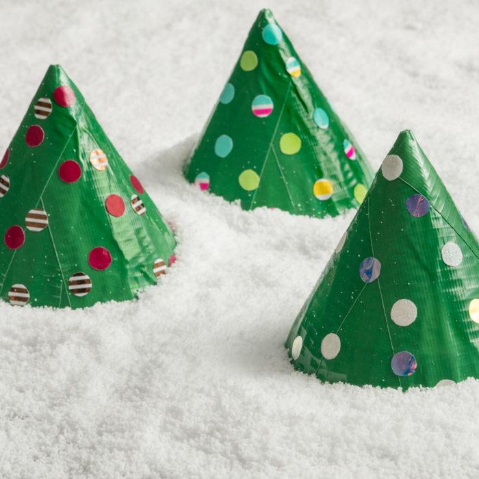 Three Duck Tape Christmas trees