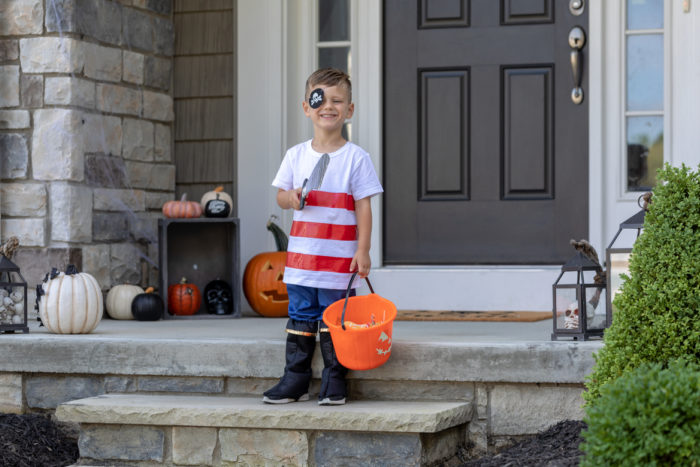 A child dressed as a pirate for Halloween