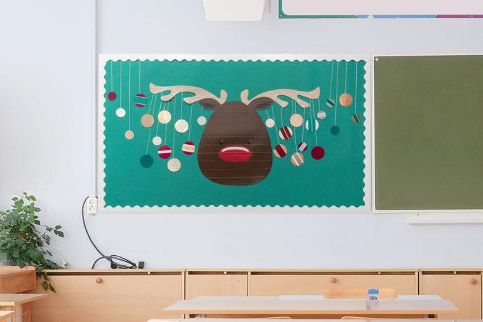 Bulletin board made from Duck Tape in school room