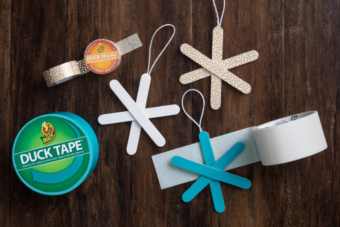 Popsicle snowflakes and rolls of colored Duck Tape