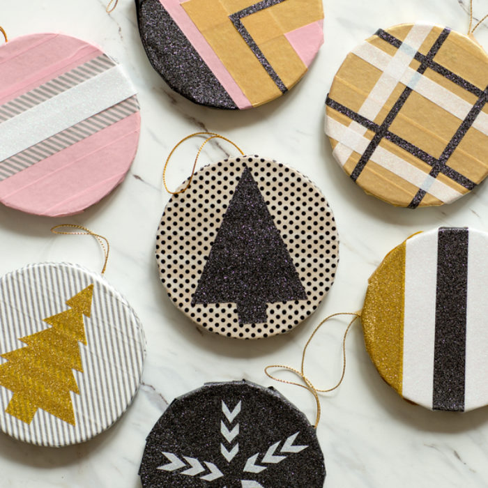 Circle ornaments made with Duck Washi tape