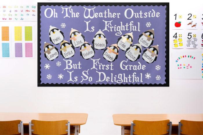 wintry scene bulletin board made from Duck Tape in school room
