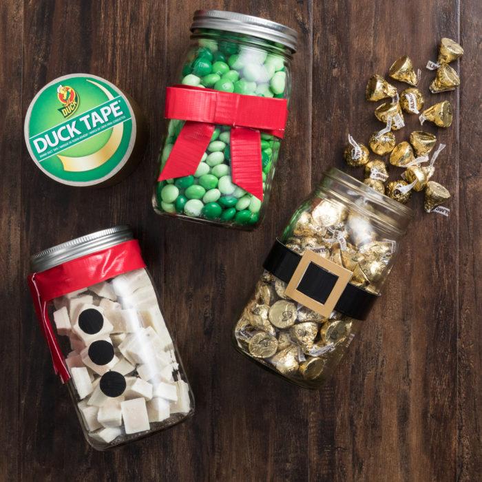 Holiday decorated mason jars