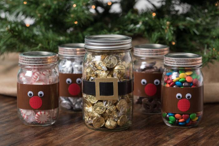 A Santa decoration made form Duck Tape and a mason jar.