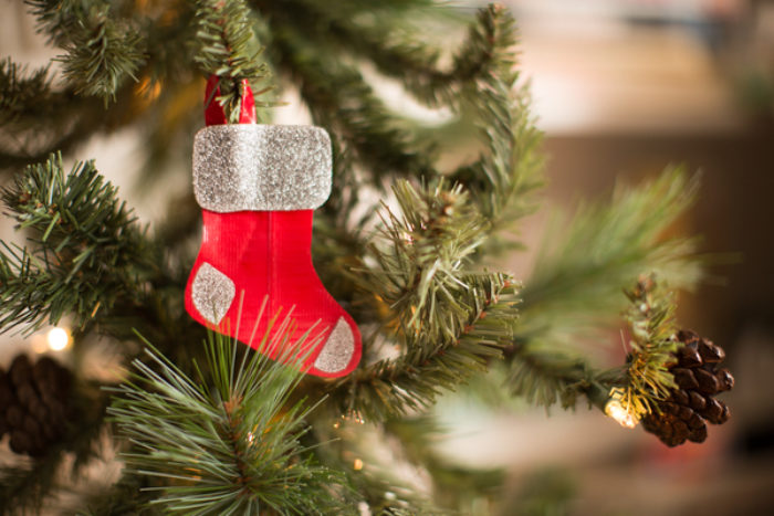 Mini stocking ornament made with red colored Duck Tape.