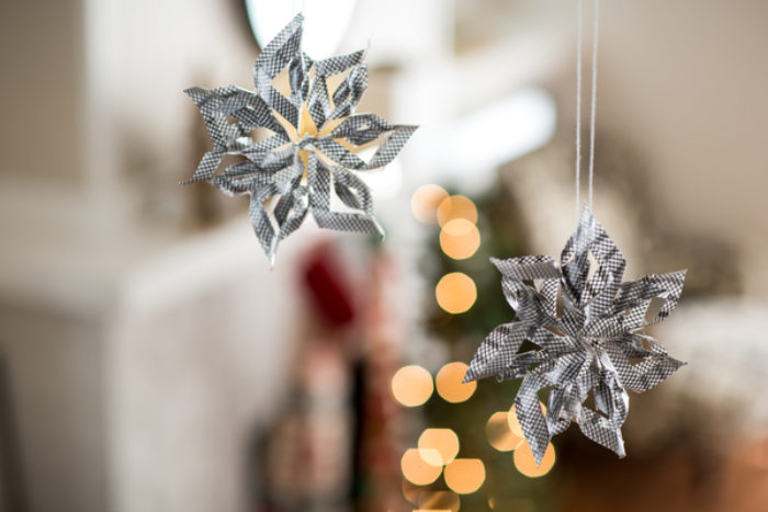3D snowflake ornament hanging up