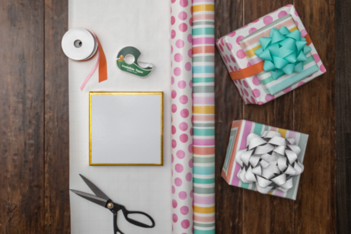 Wrapping paper, scissors, and tape