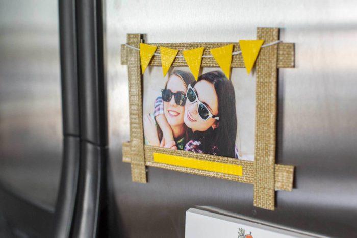 A washi tape frame on a refrigerator