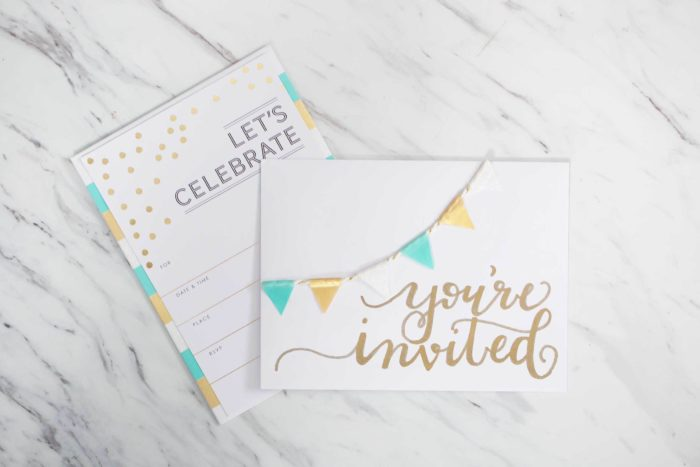 A party invitation decorated with washi tape.