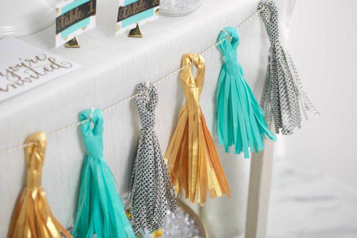A garland made of washi tape tassels
