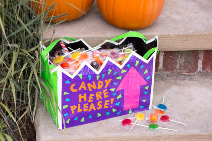 Halloween candy bag decorated with colored Duck Tape.