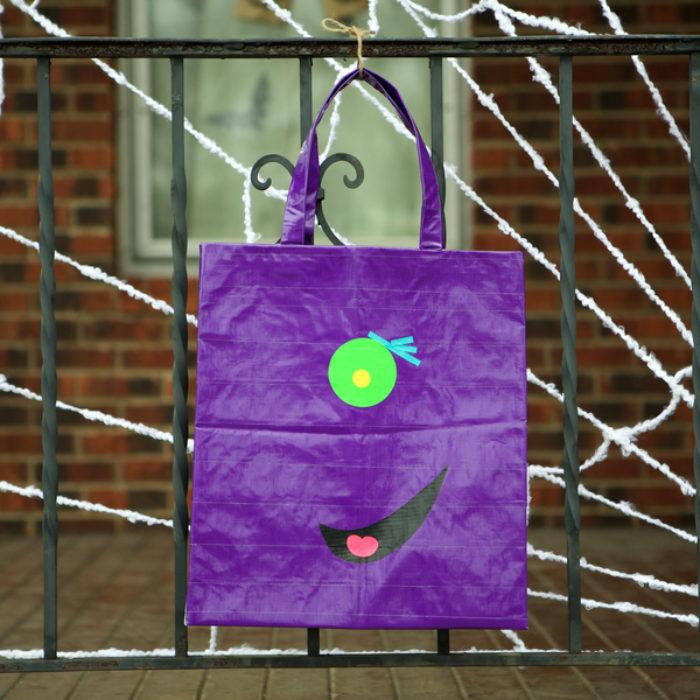 A purple duck tape halloween bag.