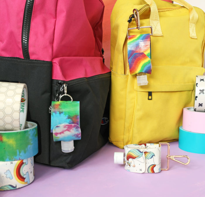 DIY duct tape hand sanitizer holder on a book bag, by The Craft Patch