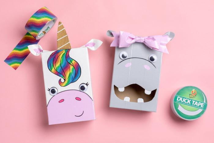 A unicorn Valentine's day card box and a hippo card box.
