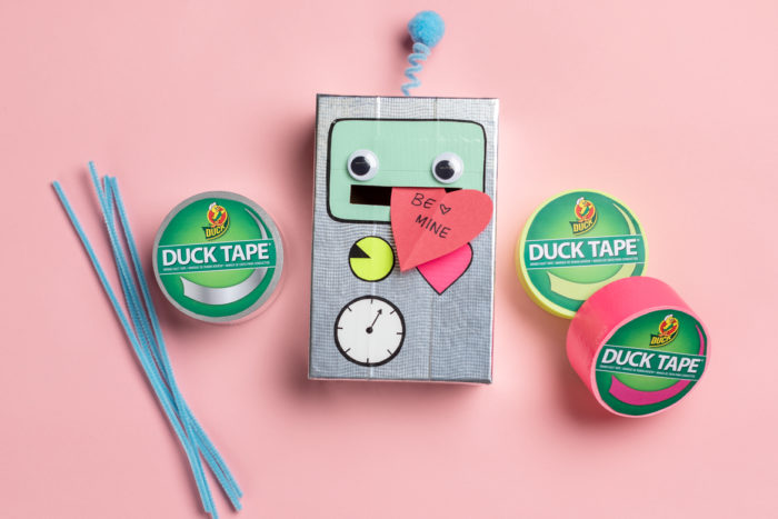 A robot card box made with silver, red and teal Duck Tape.