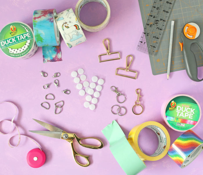 Supplies needed for a DIY hand sanitizer holder from the Craft Patch.