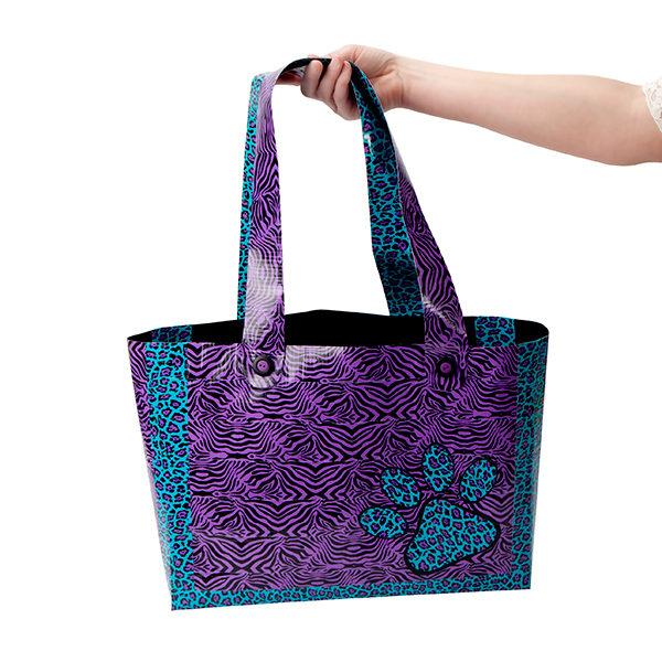 Completed animal print beach bag