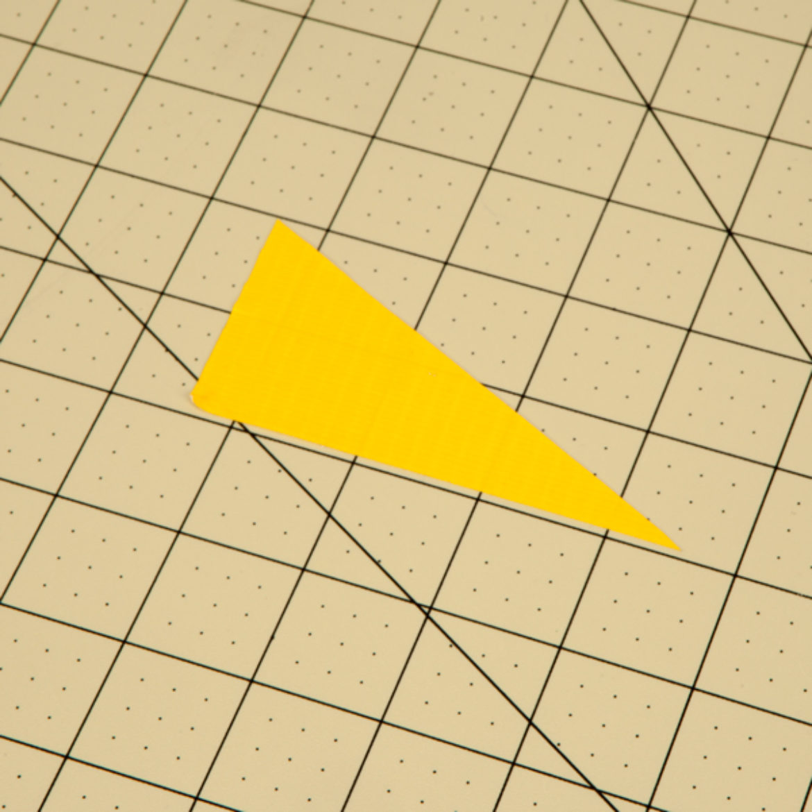 Right triangle cut out of a single strip of Duck Tape
