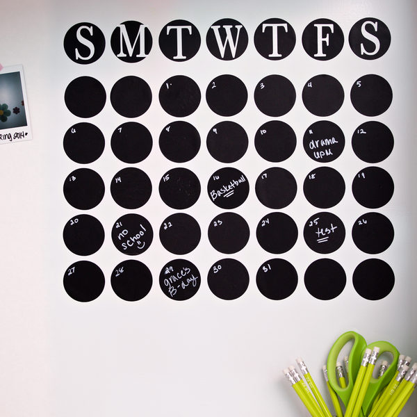 Completed Duck® Chalkboard Tape Calendar