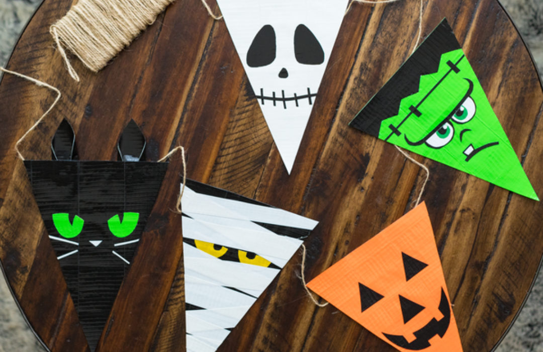 Halloween themed banner made of Duck tape