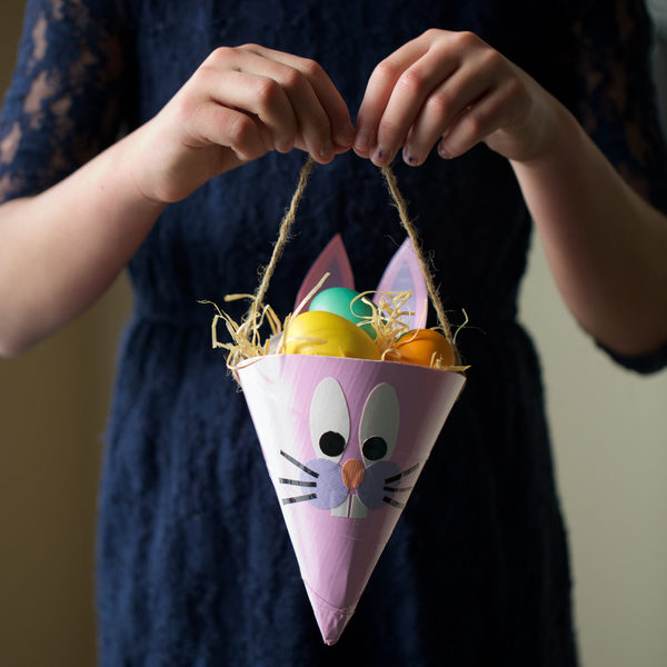 Completed Duck Tape® Easter Cone with Easter eggs