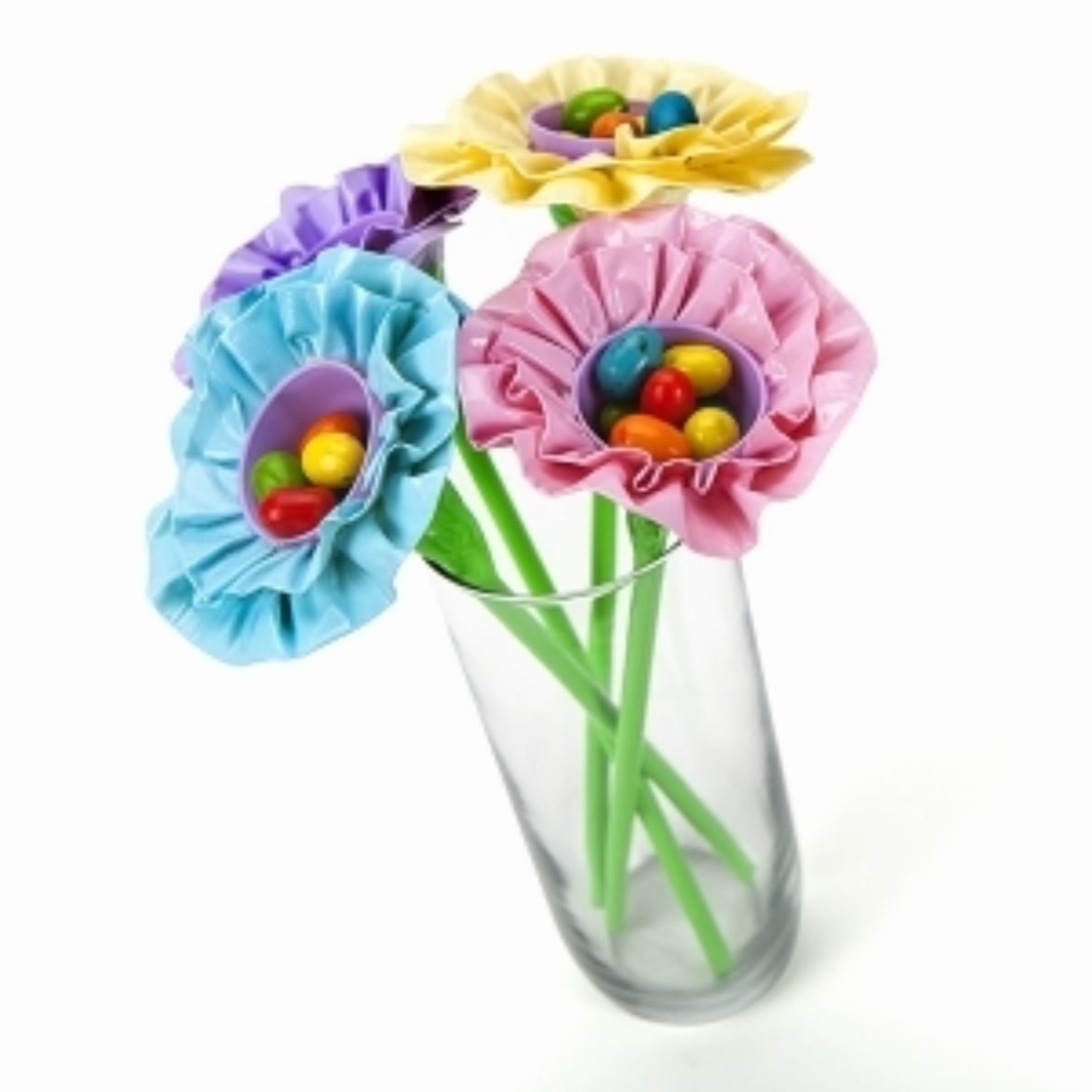 Completed Duck Tape® Easter Egg Flower with candy in the center