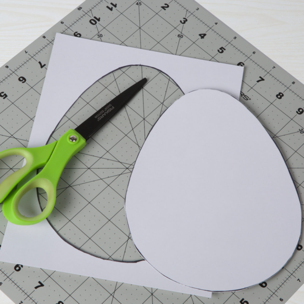 Egg shape drawn and cut out