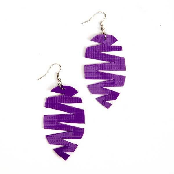 Completed Duck Tape® Feather Earrings