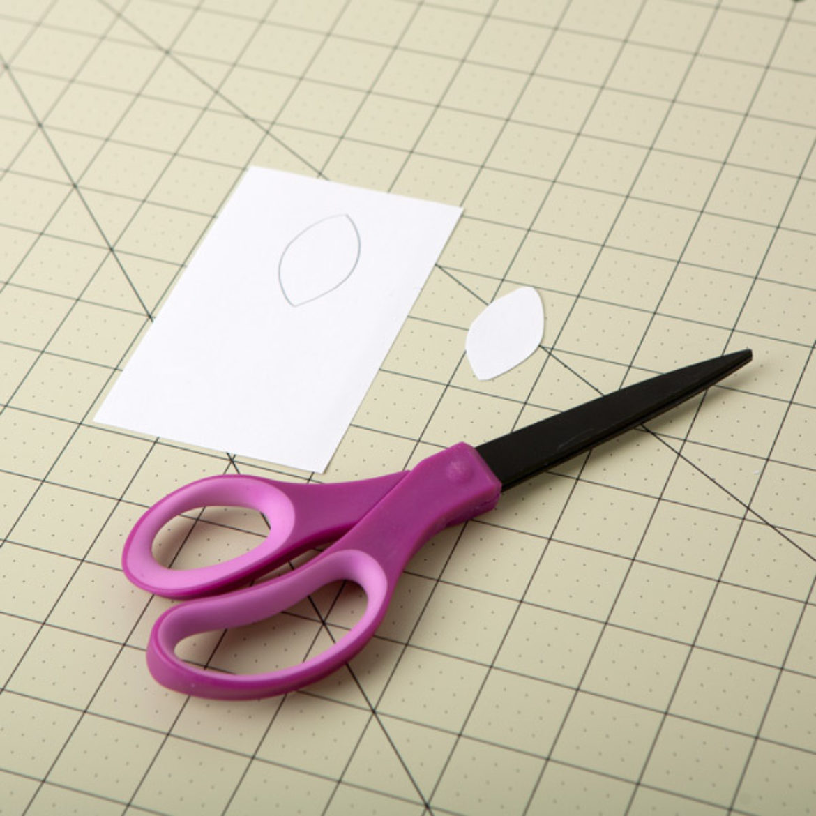almond shape cut out of a piece of cardstock to be used as a template