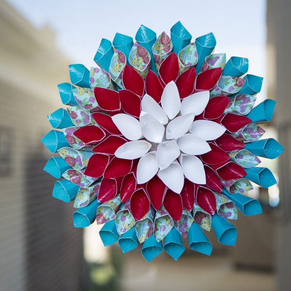 Completed Duck Tape® Flower Wreath