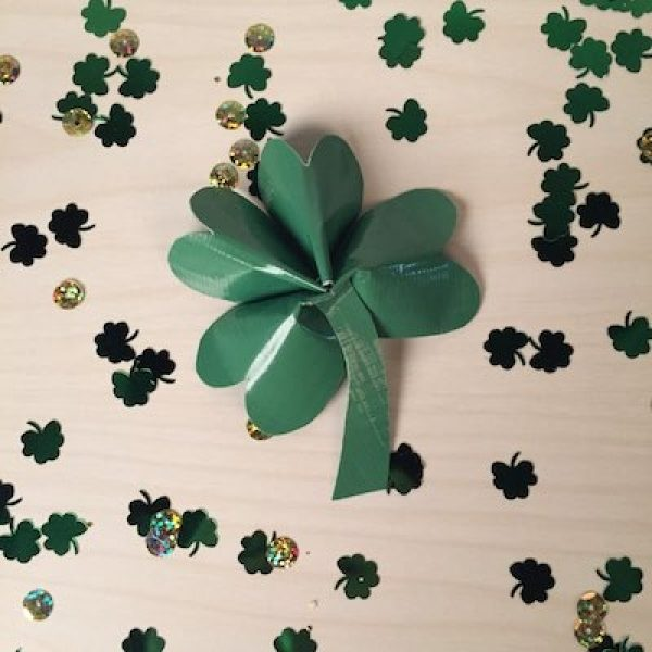 Completed Duck Tape Four-Leaf Clover  surrounded by confetti