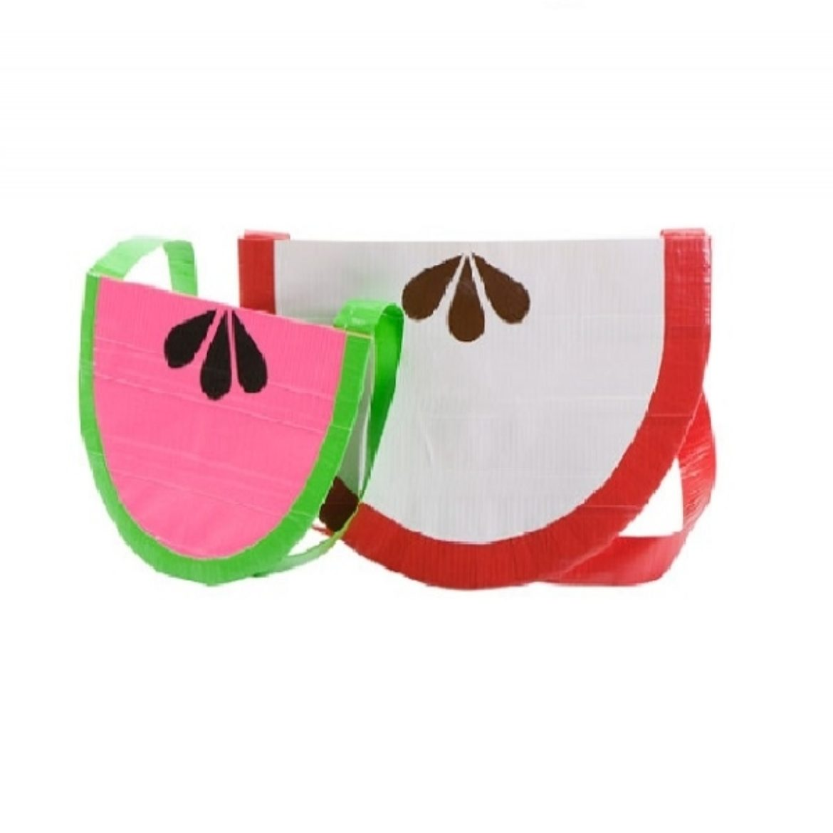 Two example fruit style purses