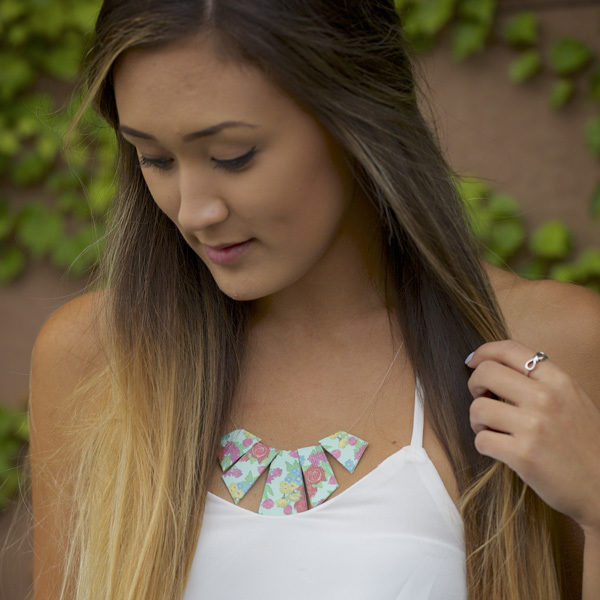 Completed Duck Tape® Geometric Necklace