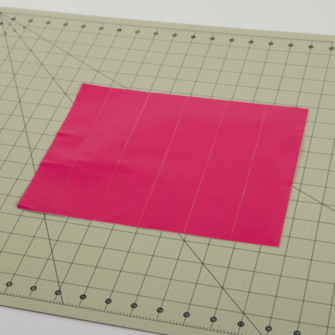 rectangular Duck Tape fabric placed on a crafting table