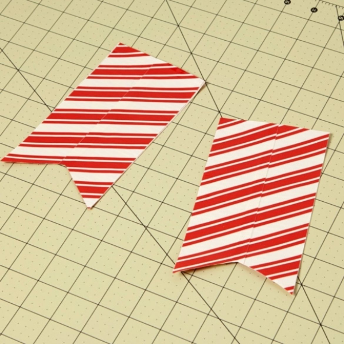 2 double wide strips of Duck Tape fabric with a V notch cut in the bottom side