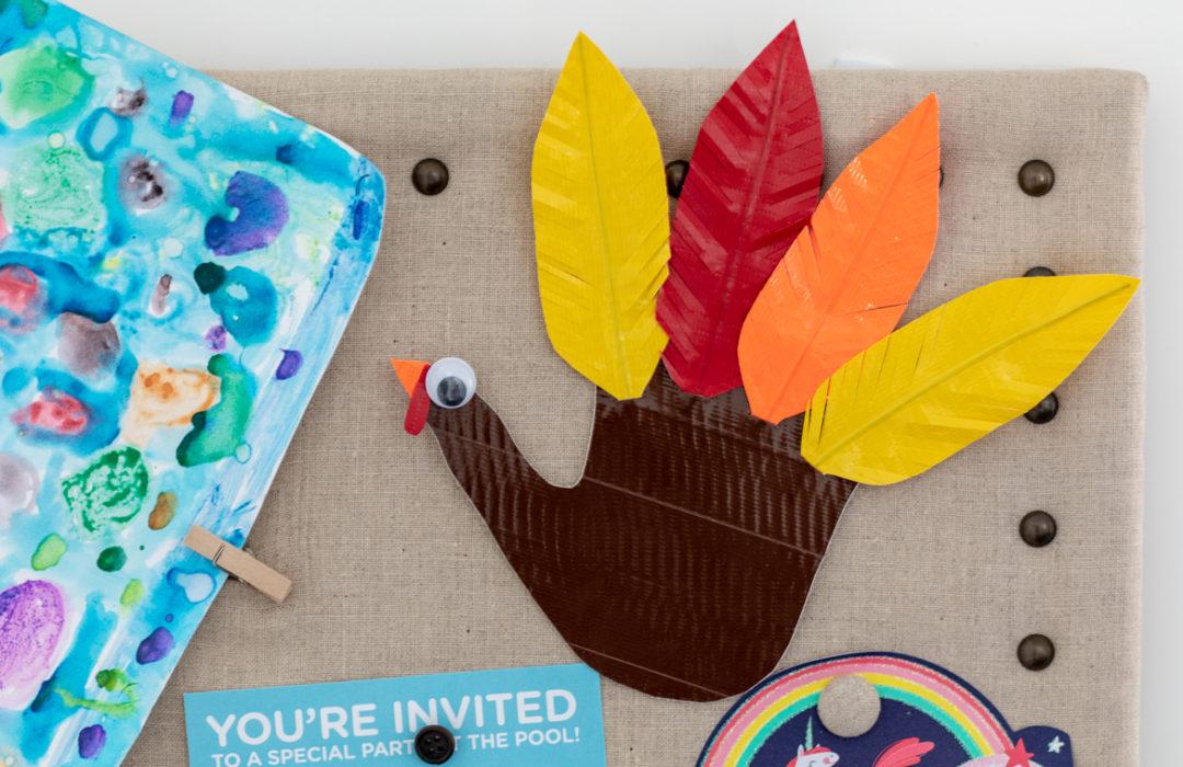 Completed Duck Tape® Turkey Handprint craft