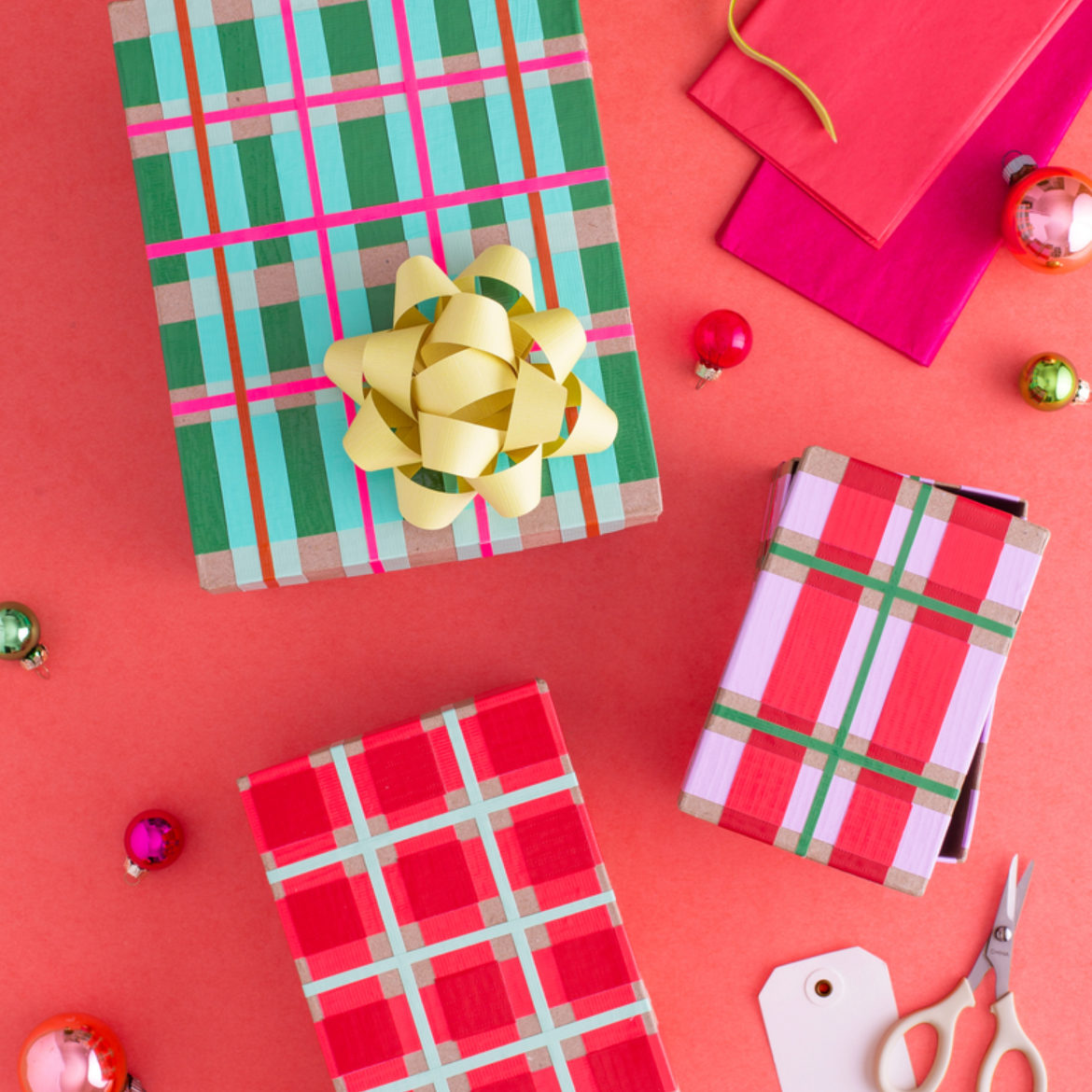 Gifts wrapped with Duck Tape