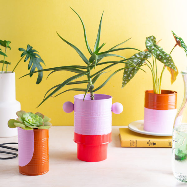 Small planters covered with color duck tape.