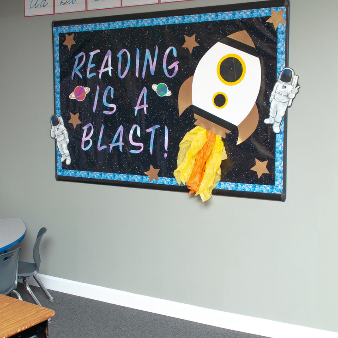 Duck Tape Rocket Ship classroom bulletin board, by Crafts by Courtney.
