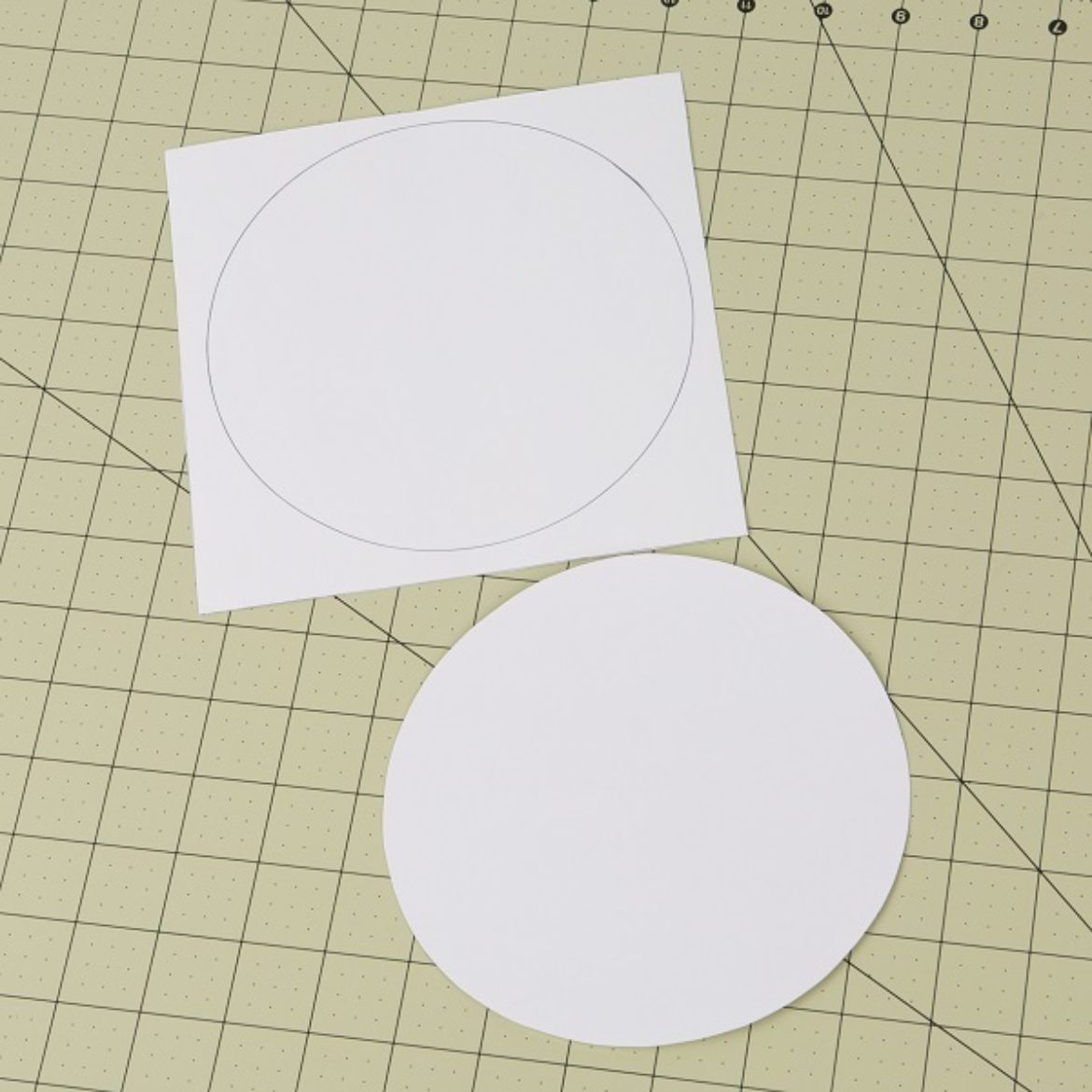 Two circles drawn and cut out of pieces of cardstock