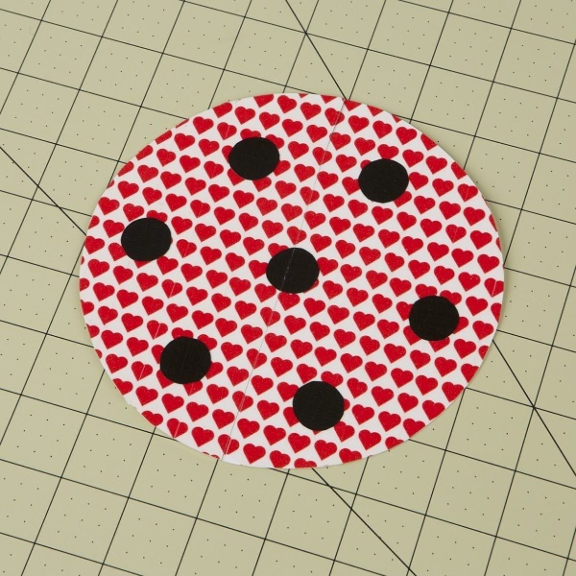Spots from previous step attached to the circle from step 2
