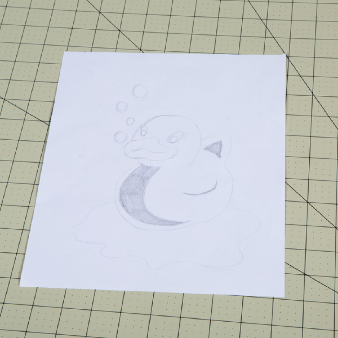 Picture of a Duck drawn onto a piece of paper