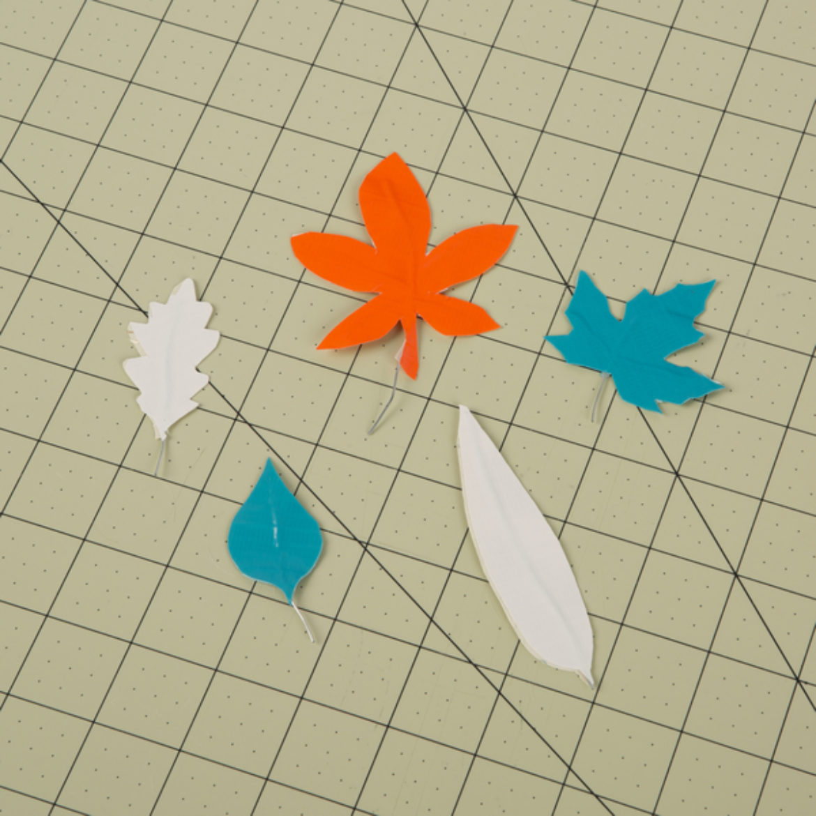 Various types of leaves made out of different color combinations